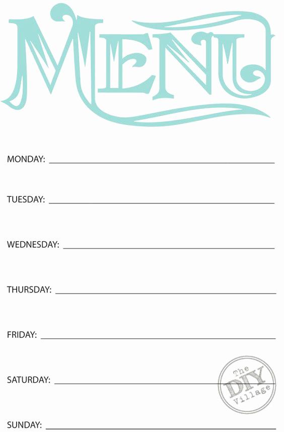 Free Printable Menu Templates Luxury Free Printable Weekly Menu Planner
