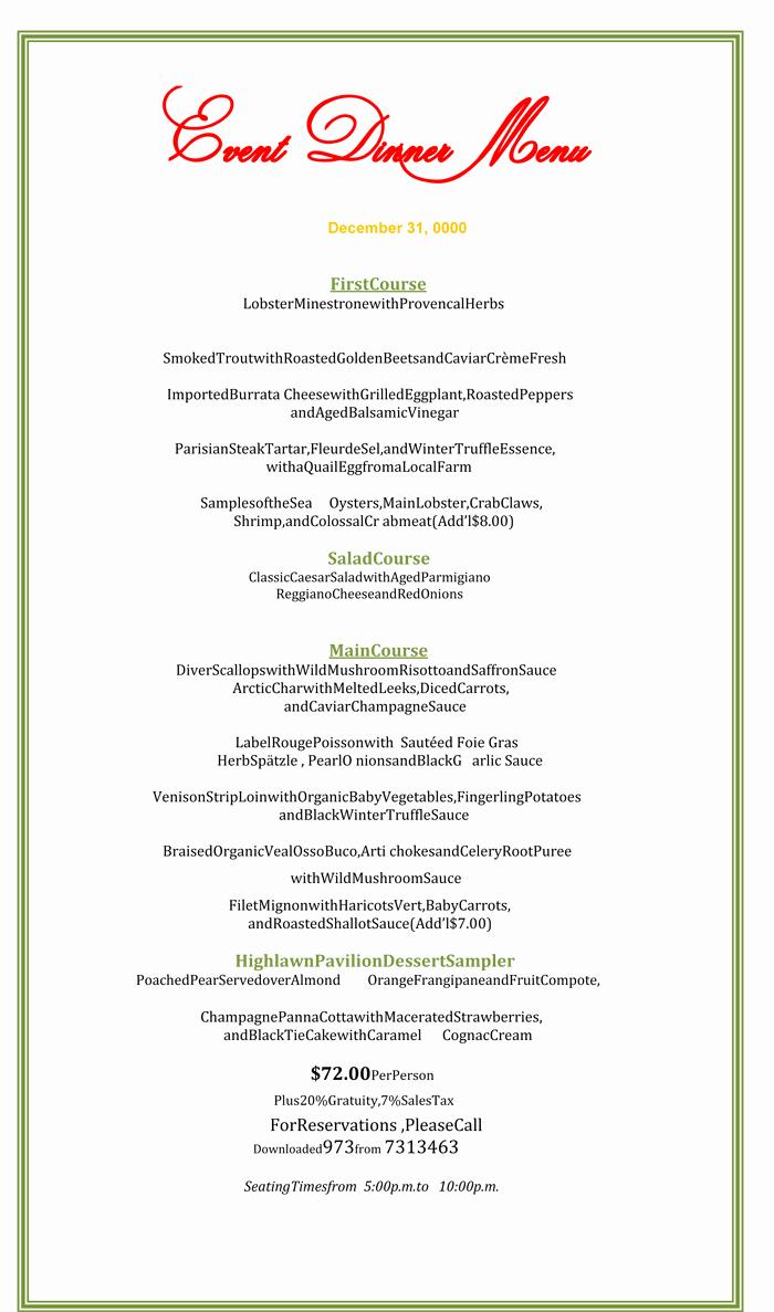 Free Printable Menu Templates New Dinner Menu Template 5 Printable Menu Designs