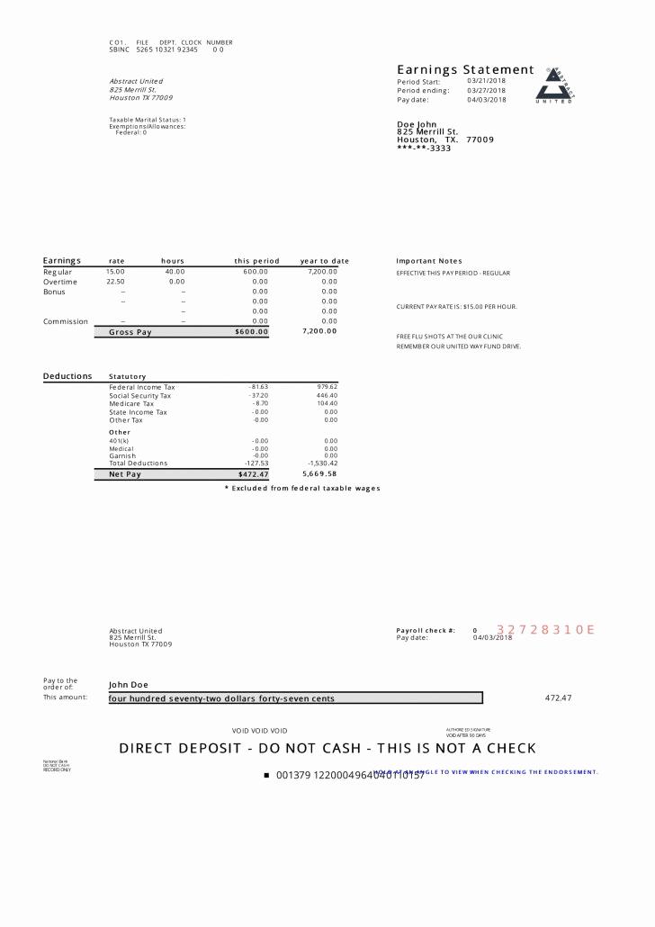 Free Printable Pay Stubs Online Luxury Sample Paycheck Stubs Resume Samples Example Pay Stub