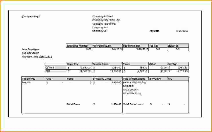 Free Printable Paycheck Stubs Awesome 4 Free Printable Pay Stubs Online