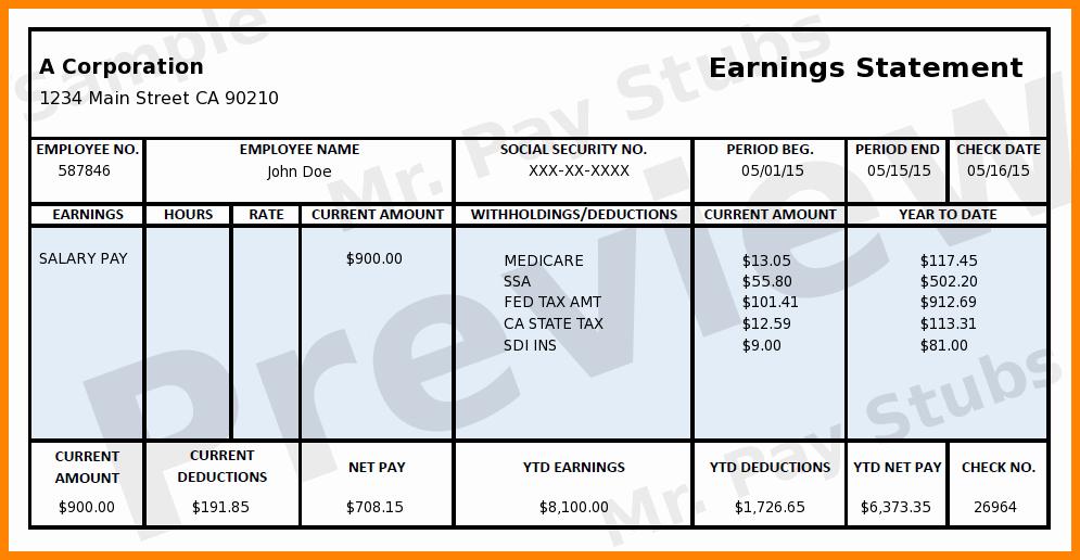 Free Printable Paycheck Stubs Best Of 5 Free Printable Paycheck Stub Generator