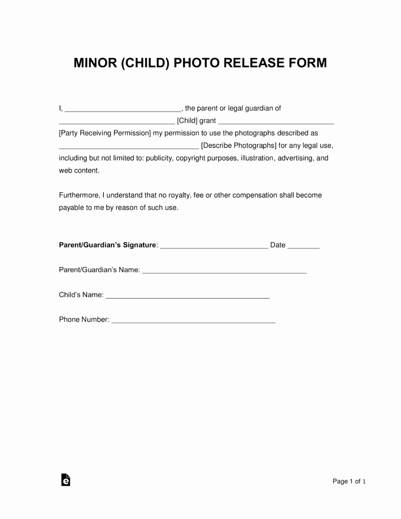 Free Printable Photo Release form Awesome Free Minor Child Release form Word
