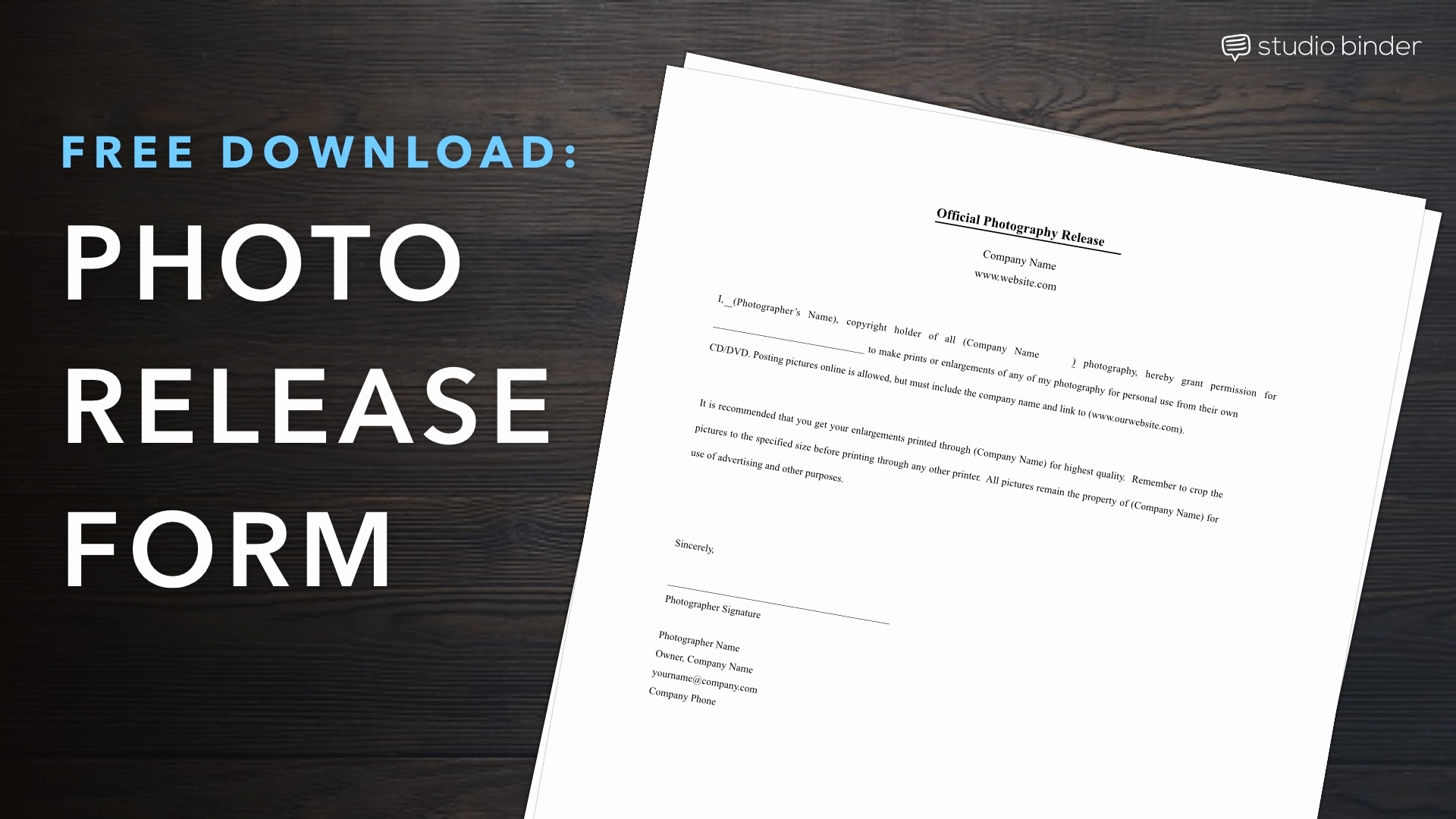 Free Printable Photo Release form Beautiful Download Free Release form Template