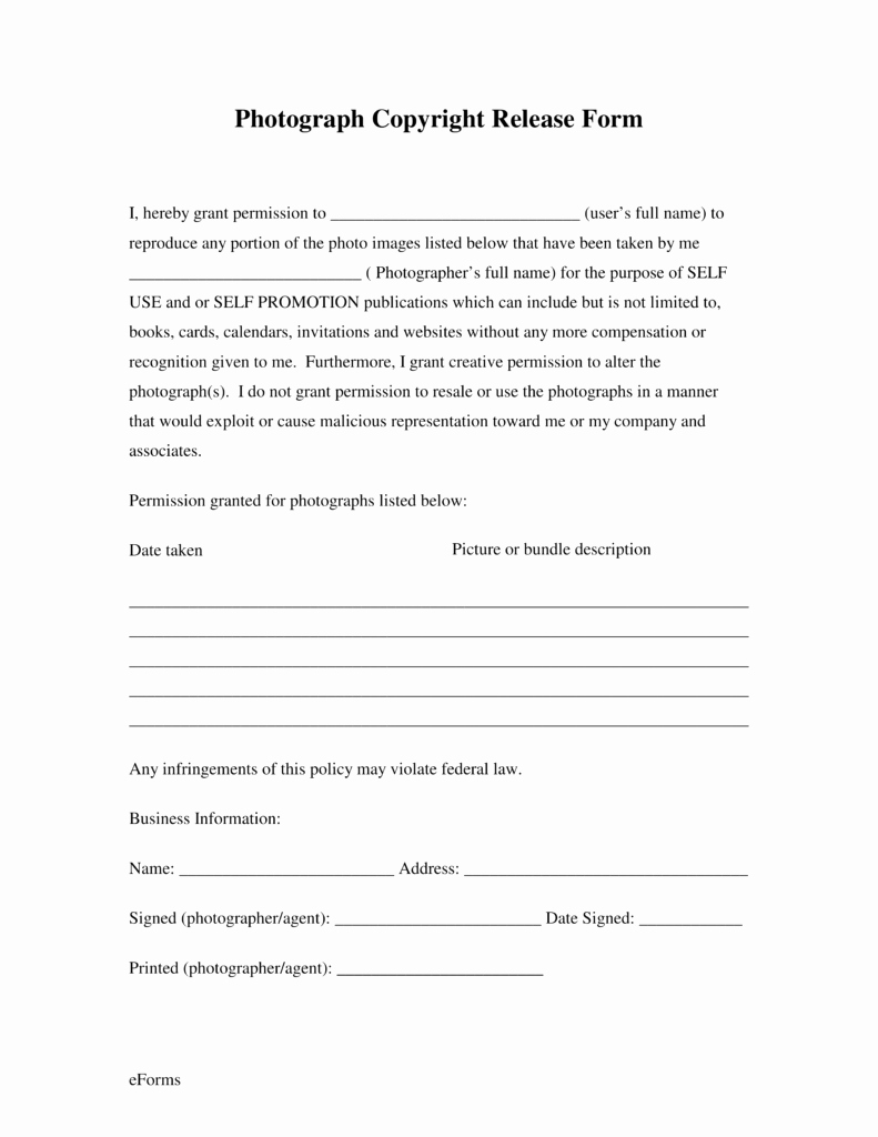 Free Printable Photo Release form Inspirational Free Generic Copyright Release form Pdf