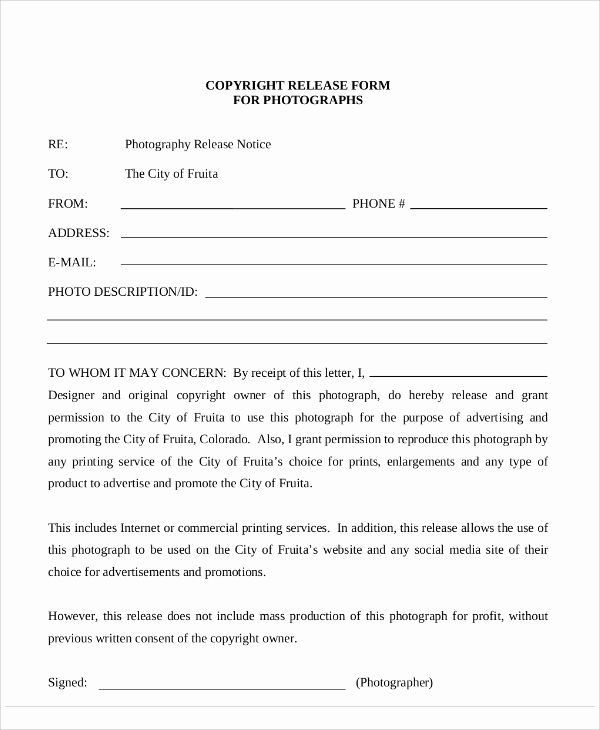 Free Printable Photo Release form Lovely Sample Graphy Copyright Release form 7 Examples In