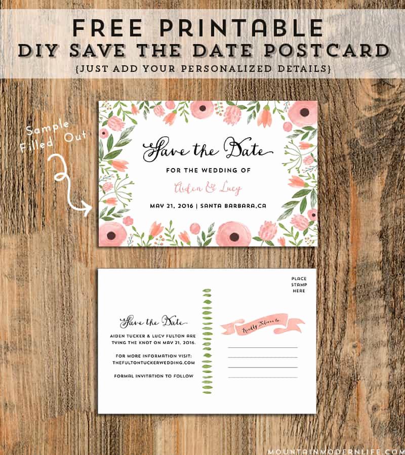 Free Printable Postcard Templates Best Of Diy Save the Date Postcard Free Printable
