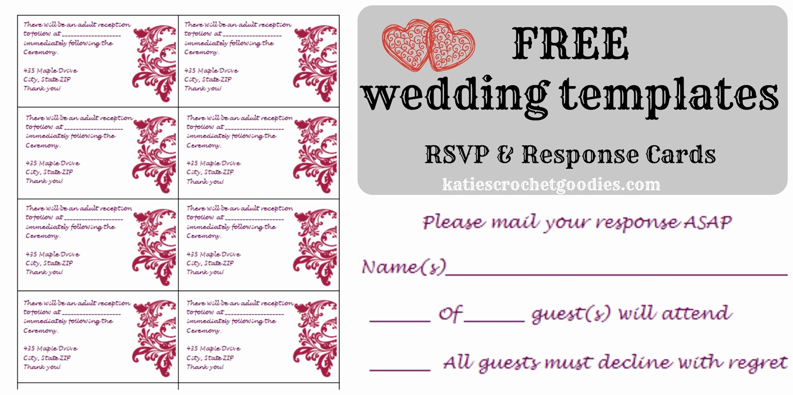 Free Printable Postcard Templates New Free Wedding Templates Rsvp & Reception Cards Katie S