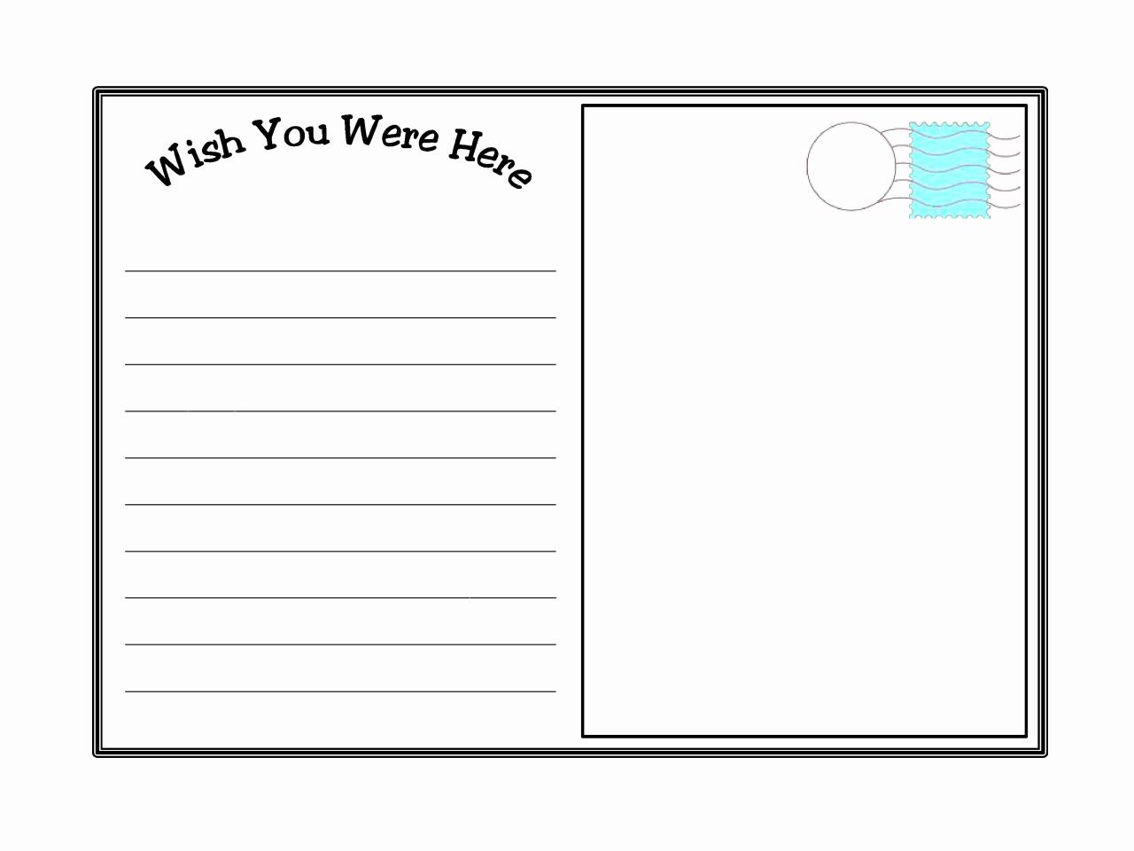 Free Printable Postcard Templates New Postcard Template Printable