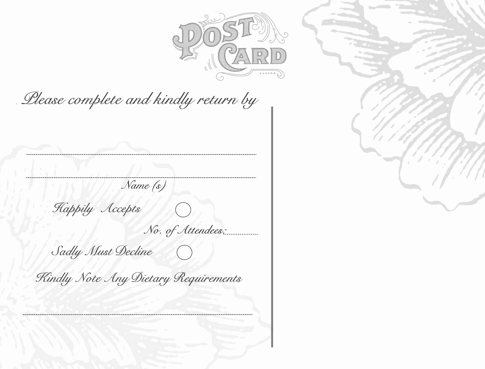 Free Printable Postcard Templates Unique Omg My Diy Wedding Free Vintage Postcard Back & Peony