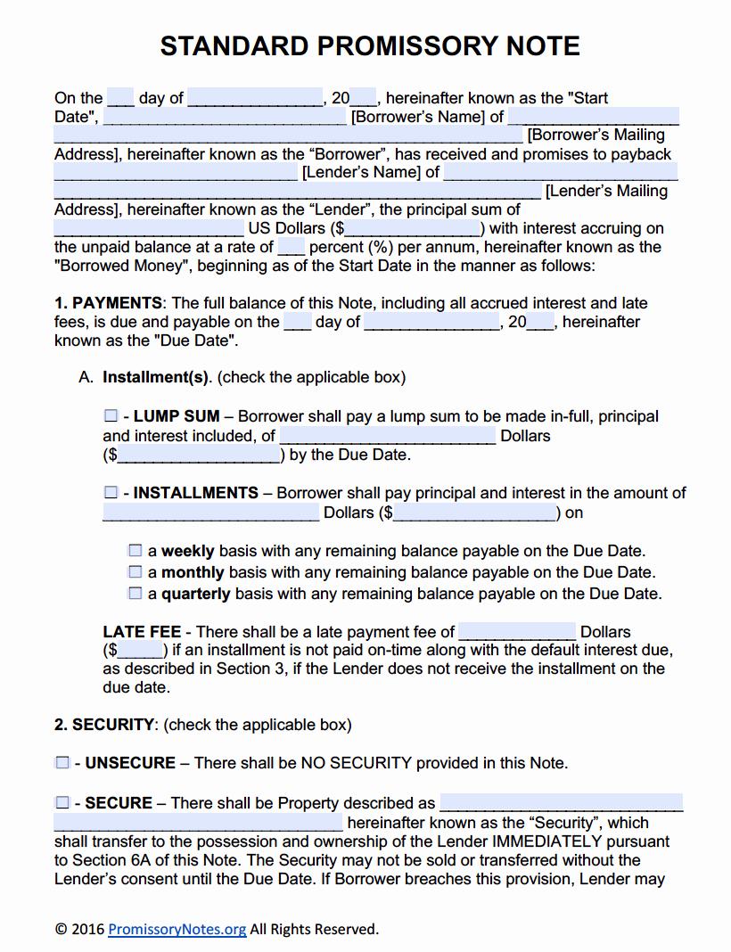 Free Printable Promissory Note Fresh Free Promissory Note Template Adobe Pdf & Microsoft Word