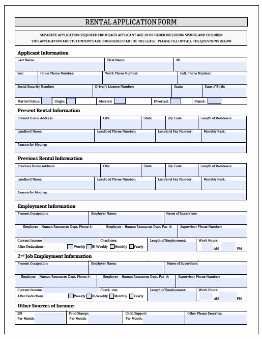Free Printable Rental Application Luxury Printable Sample Rental Application forms form