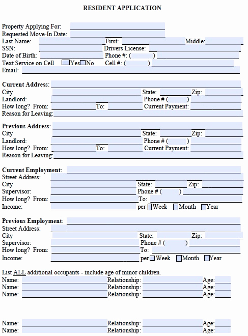 Free Printable Rental Application New Free Rental Application form