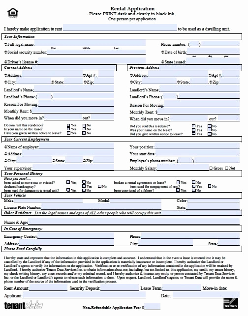 Free Printable Rental Application New Printable Sample Rental Application Template form