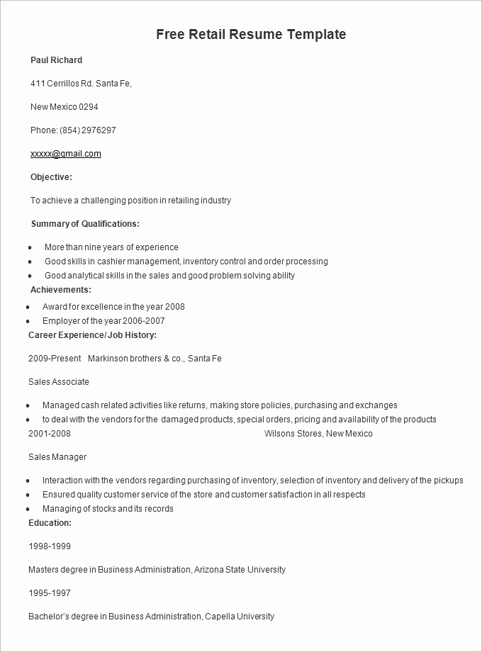 Free Printable Resume Templates Awesome Resume Templates – 127 Free Samples Examples & format