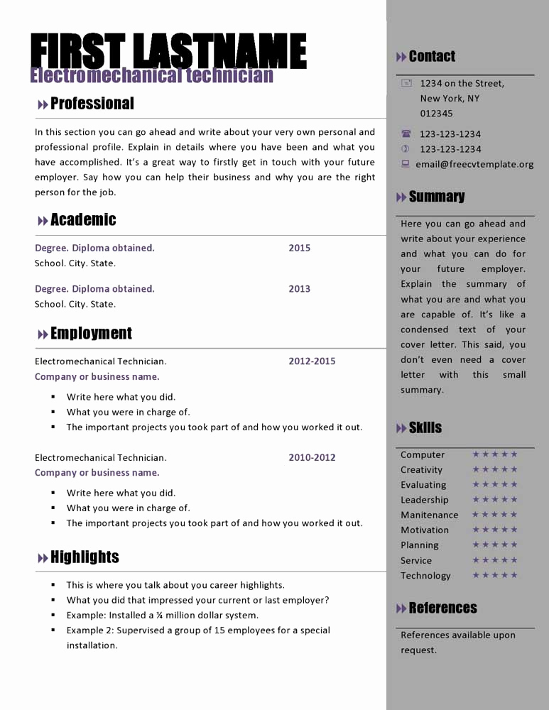 Free Printable Resume Templates Lovely Free Curriculum Vitae Templates 466 to 472 – Free Cv