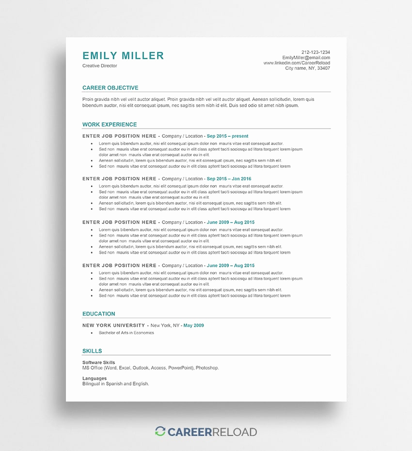 Free Printable Resume Templates Lovely Free Word Resume Templates Free Microsoft Word Cv Templates