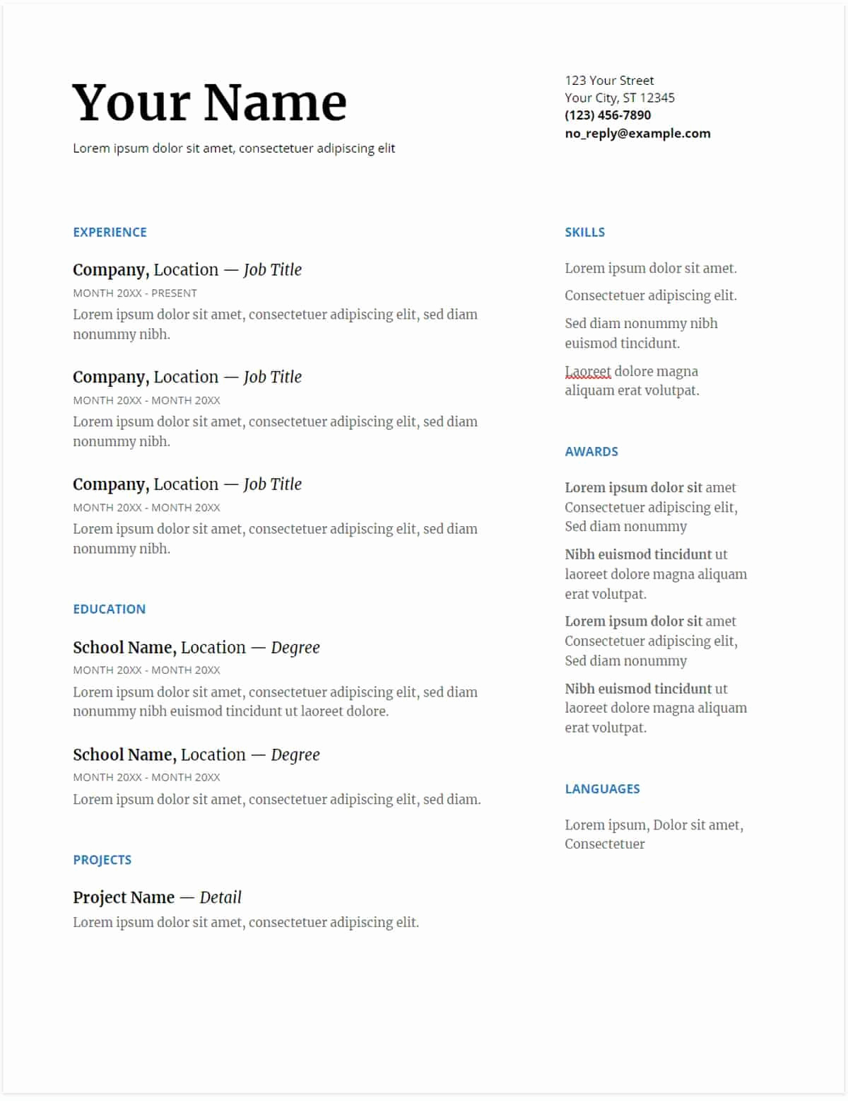 Free Printable Resume Templates New 30 Google Docs Resume Templates [downloadable Pdfs]