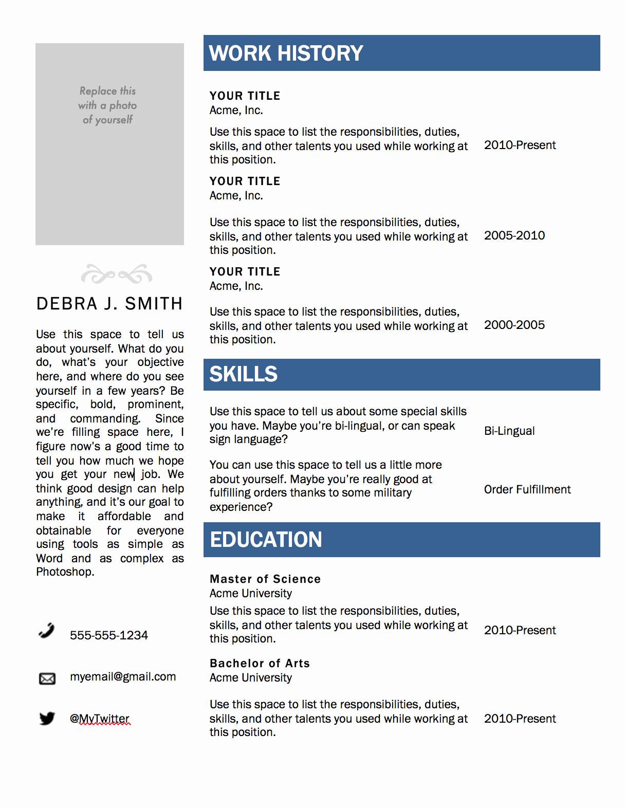 Free Printable Resume Templates New Free Microsoft Word Resume Template — Superpixel