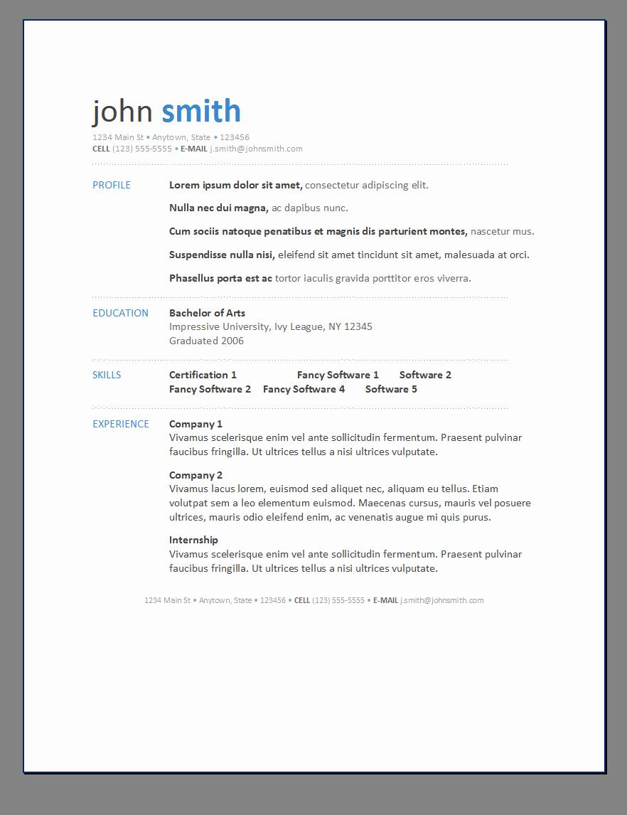 Free Printable Resume Templates New Free Resumes Templates