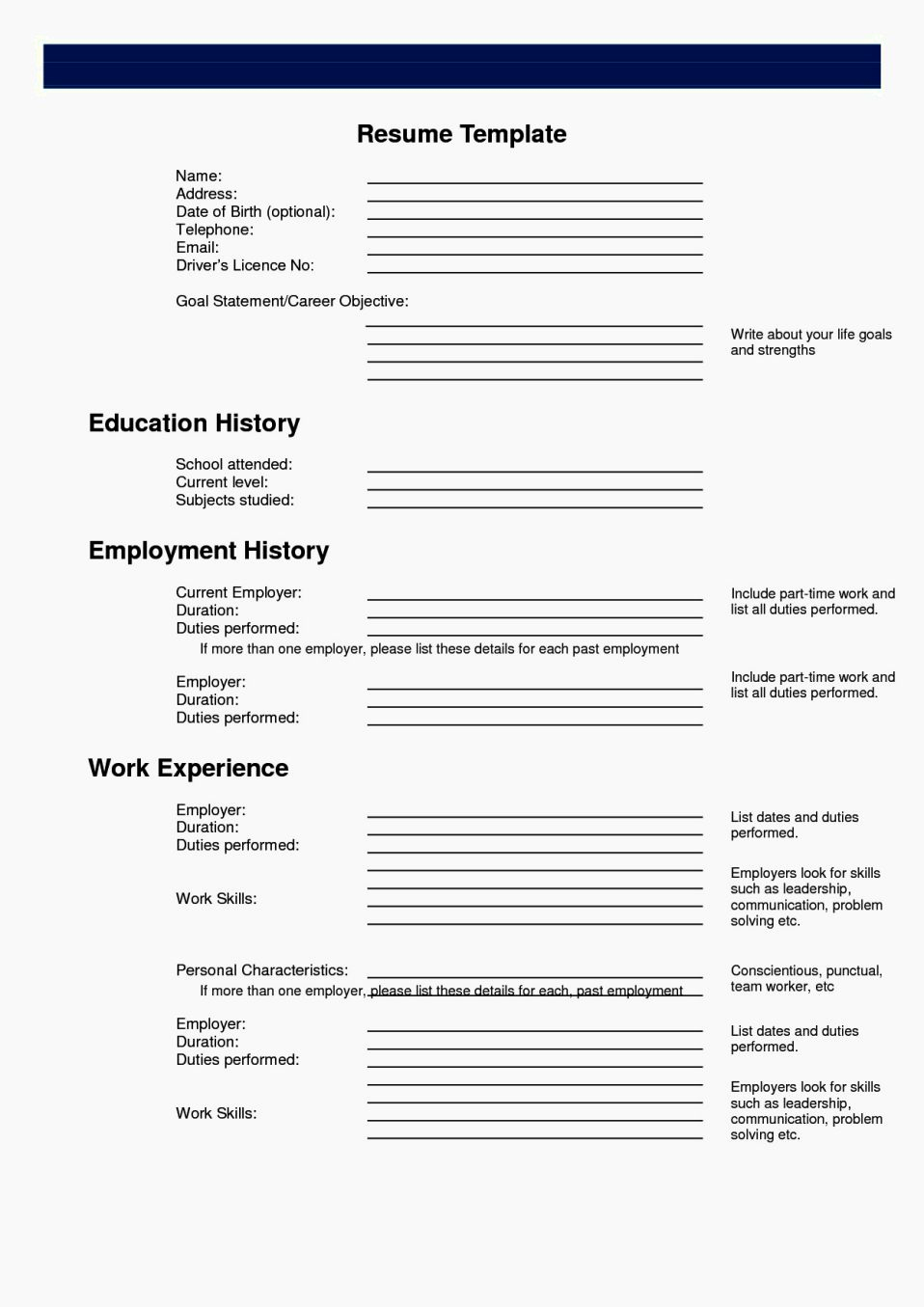 Free Printable Resume Templates Unique Easy Fill In Resume Resume Template