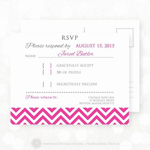 Free Printable Rsvp Cards Awesome Items Similar to Printable Rsvp Card Pink Chevron Wedding