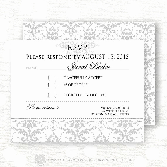 Free Printable Rsvp Cards Elegant Printable Rsvp Card Gray Damask Winter Wedding Reply Card