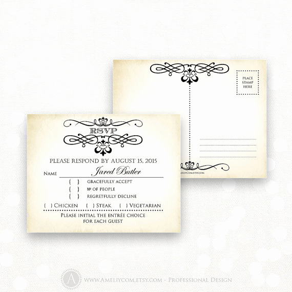printable rsvp card editable instant digital diy vintage reply card response cards for wedding birthday shower back postcard