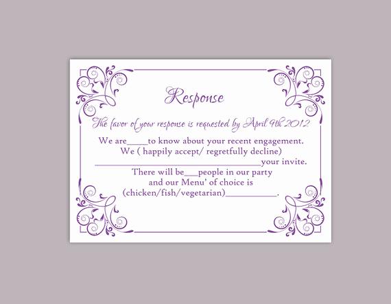 Free Printable Rsvp Cards Inspirational Diy Wedding Rsvp Template Editable Text Word File Download