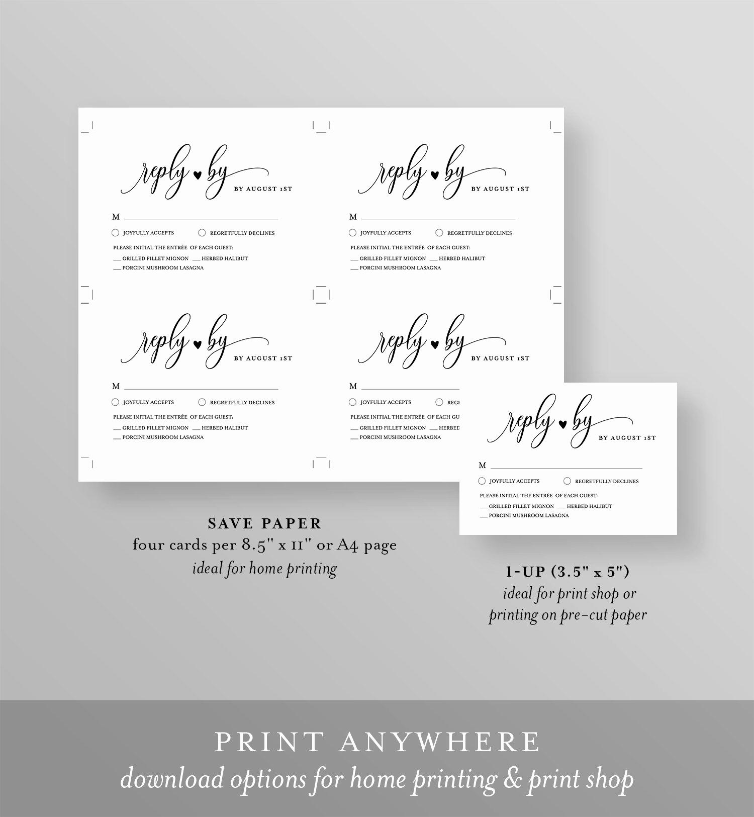 Free Printable Rsvp Cards Inspirational Rsvp Card Template Printable Wedding Response Card