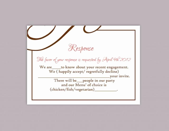 Free Printable Rsvp Cards Lovely Diy Wedding Rsvp Template Editable Text Word File Download