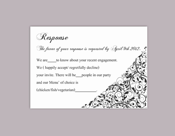 Free Printable Rsvp Cards New Diy Wedding Rsvp Template Editable Text Word File Download