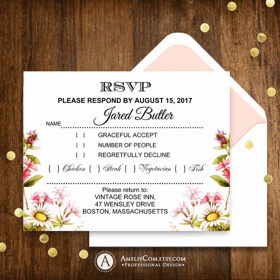 Free Printable Rsvp Cards New Printable Rsvp Card Rustic Summer Wildflowers Garden theme