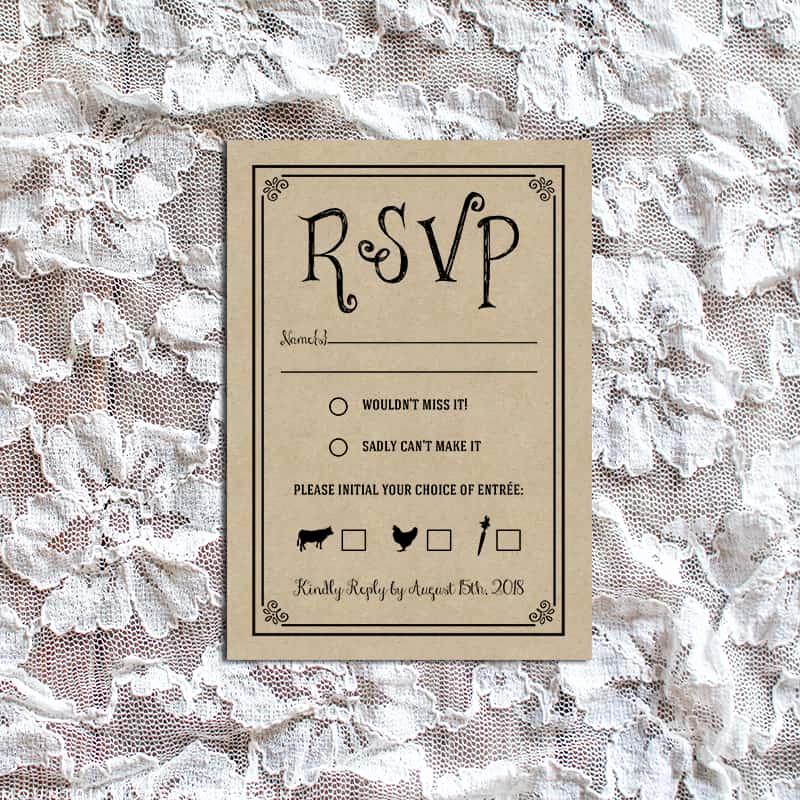 Free Printable Rsvp Cards New Vintage Rustic Diy Rsvp Card