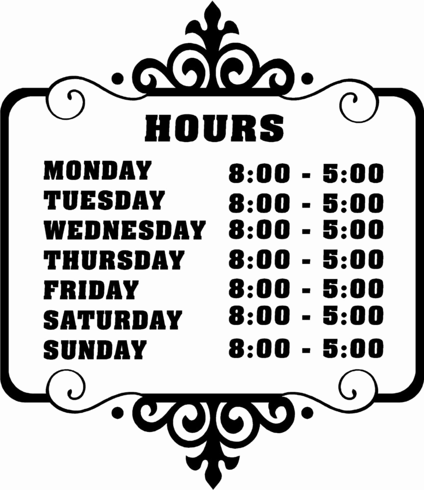 Free Printable Sign Templates Best Of Custom Store Business Hours Sticker Vinyl Decal Sign