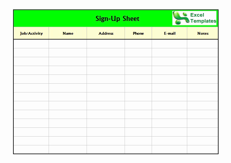 Free Printable Sign Templates New 40 Sign Up Sheet Sign In Sheet Templates Word & Excel
