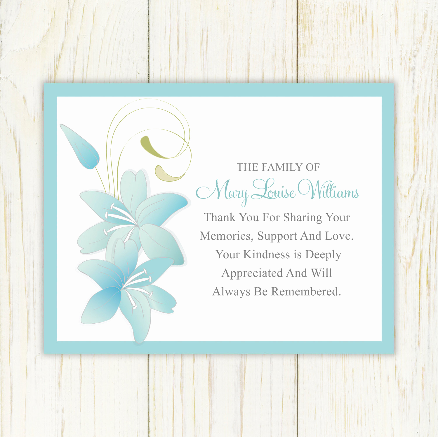 Free Printable Sympathy Cards Unique Lily Funeral Thank You Card Printable Digital File Sympathy