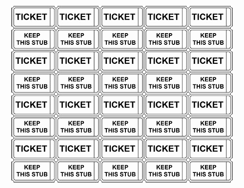 Free Printable Ticket Template Awesome Printable Admission Tickets without Numbers
