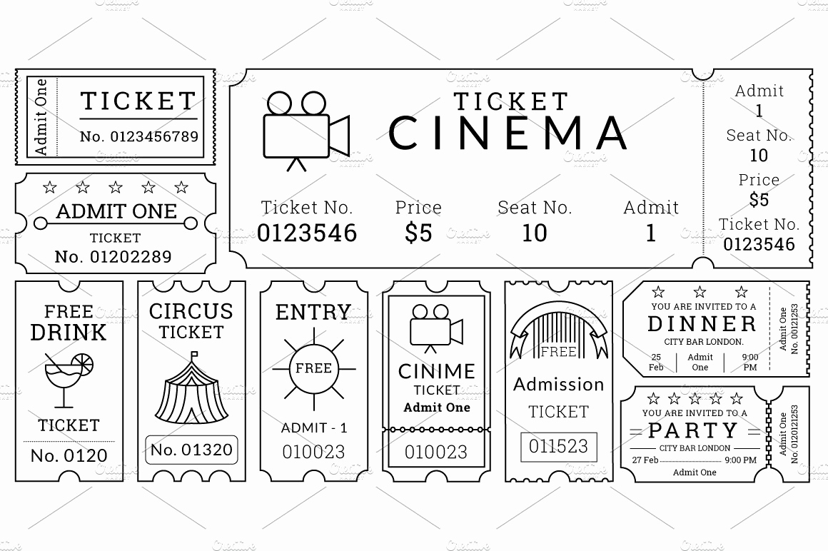 Free Printable Ticket Template Best Of Ticket Templates Pack Illustrations Creative Market
