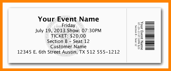 Free Printable Ticket Template Elegant 10 Free Ticket Template
