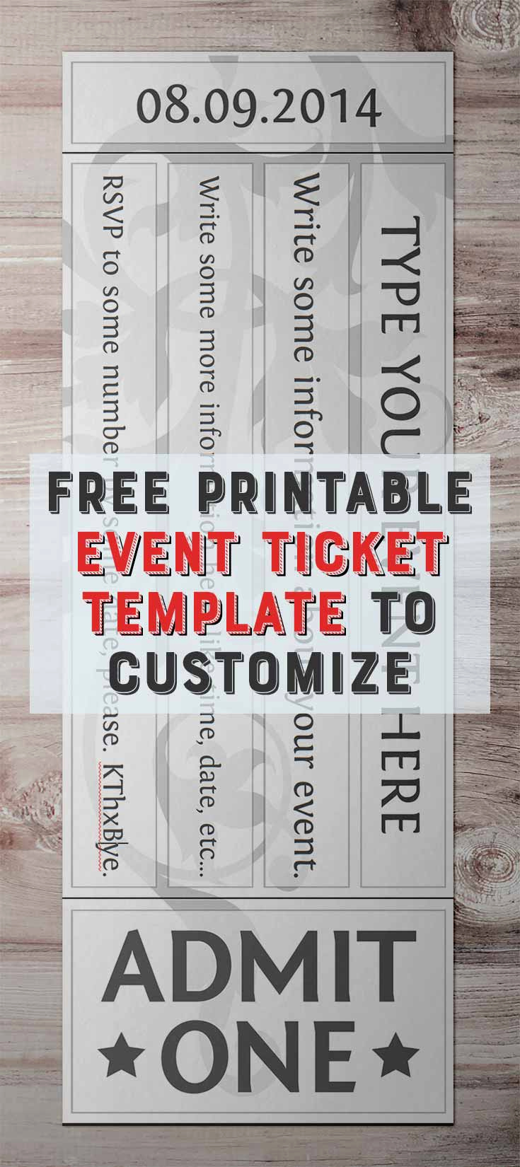 Free Printable Ticket Template Luxury Free Printable event Ticket Template to Customize