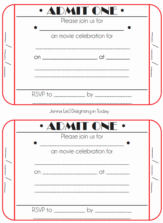 Free Printable Ticket Template New Movie Ticket Birthday Invitations Free Printable