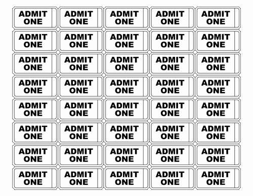 Free Printable Tickets Template Awesome Free Printable Admit E Ticket Templates Blank