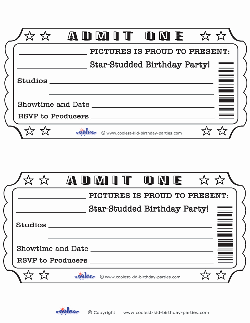 blank movie ticket invitation template free