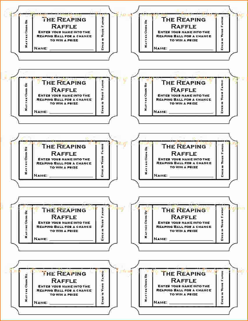 Free Printable Tickets Template Inspirational 4 Printable Raffle Tickets
