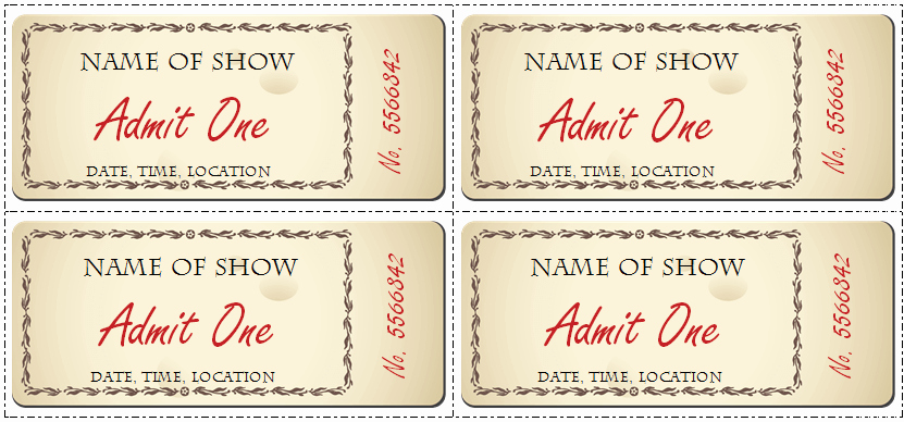 Free Printable Tickets Template Inspirational 6 Ticket Templates for Word to Design Your Own Free Tickets