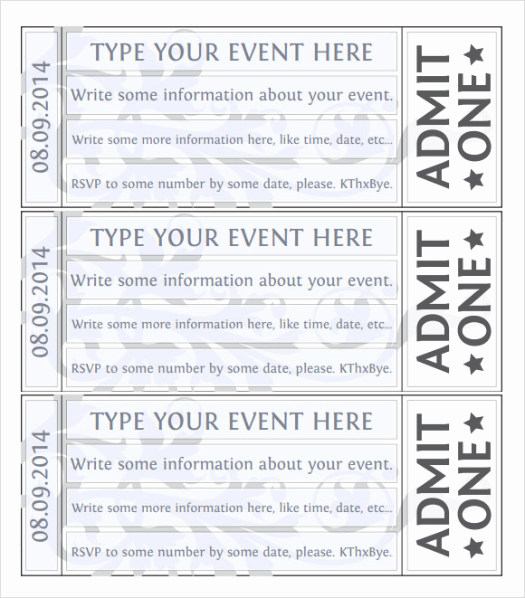 Free Printable Tickets Template Lovely 28 Sample Amazing event Ticket Templates Psd Ai Word