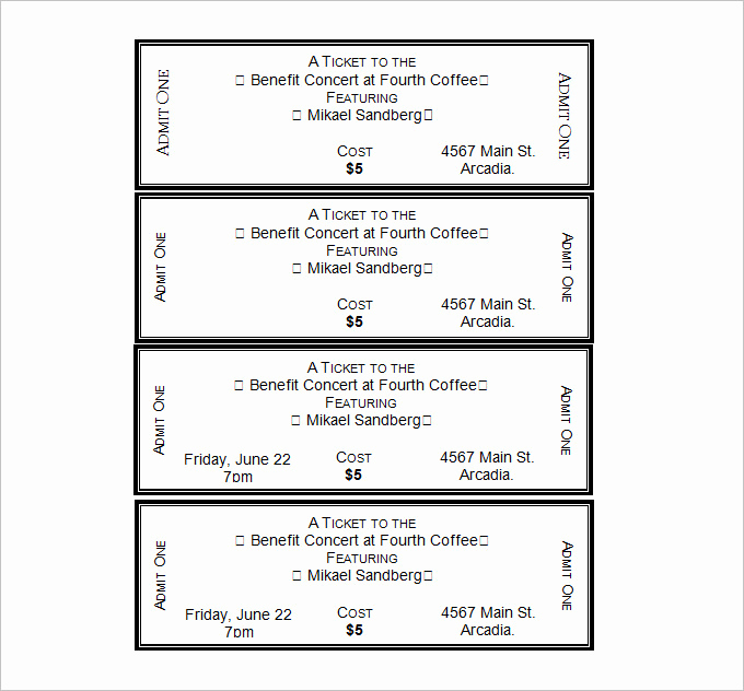 Free Printable Tickets Template Luxury 30 Free Movie Ticket Templates Printable Word formats