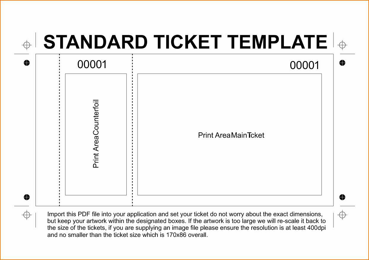 Free Printable Tickets Template New 6 Free Printable Raffle Tickets Template