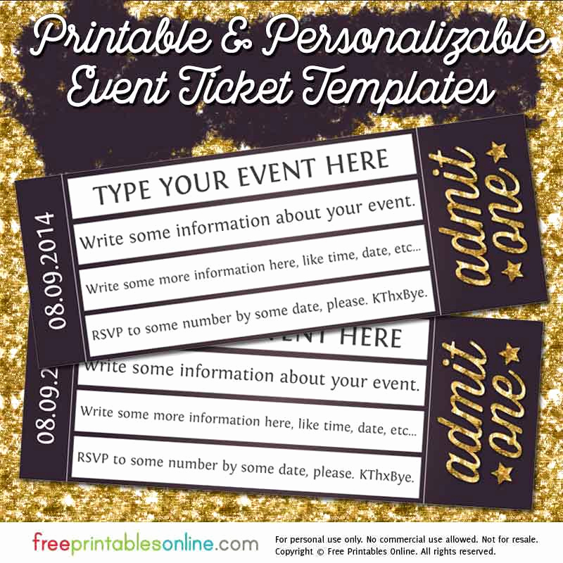 Free Printable Tickets Template New Admit E Gold event Ticket Template