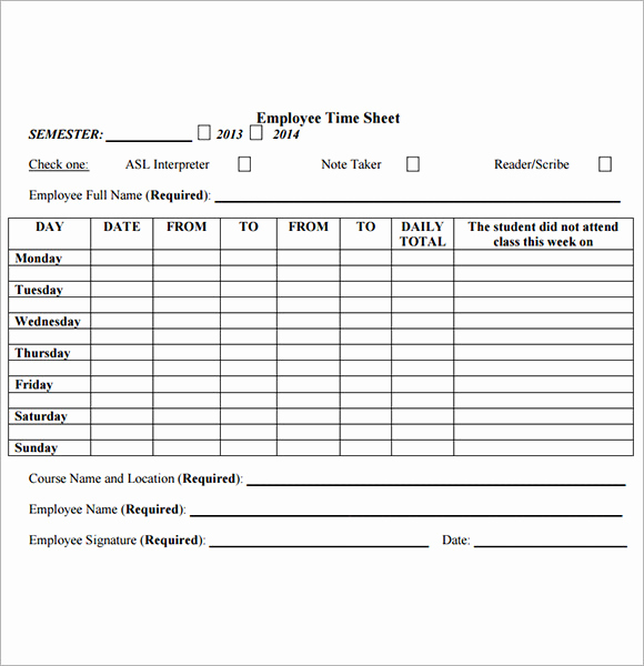 Free Printable Time Sheets Beautiful Employee Timesheet Sample 11 Documents In Word Excel Pdf